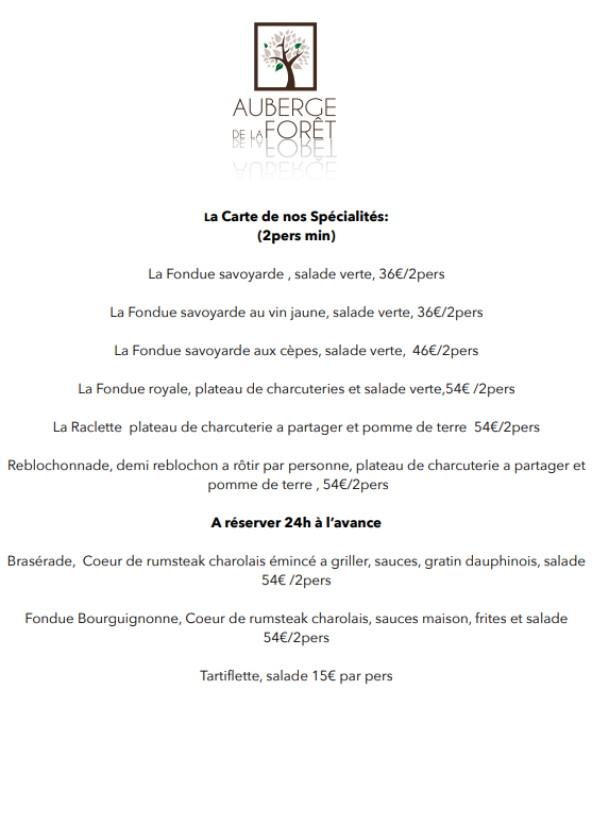 Carte Auris Restaurant Auberge de la Foret