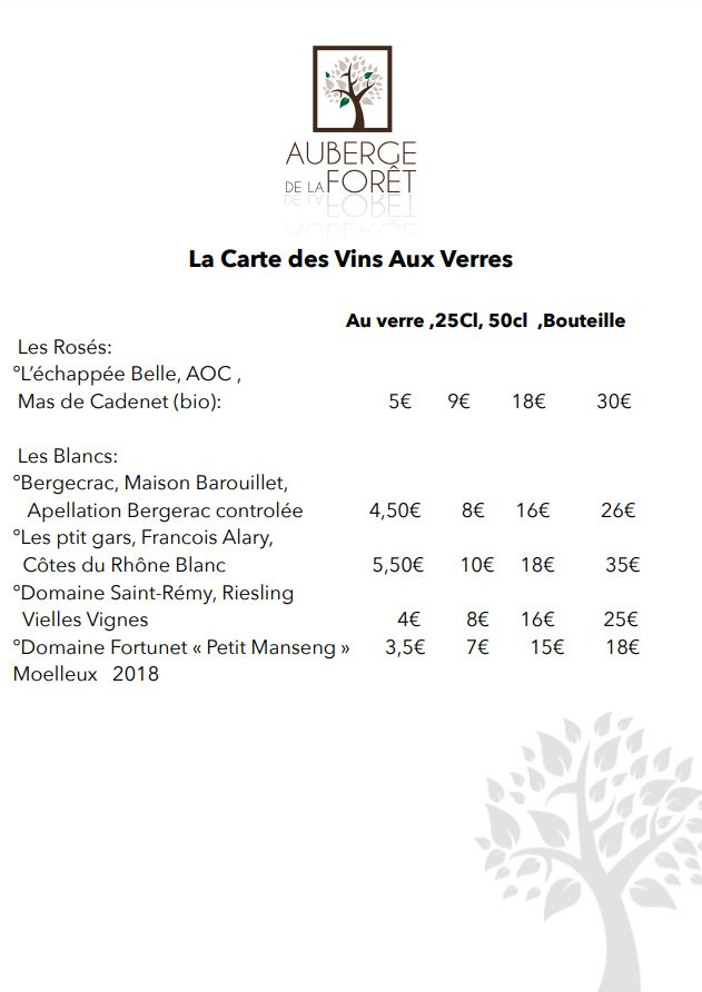 Carte des vins hivers 2021