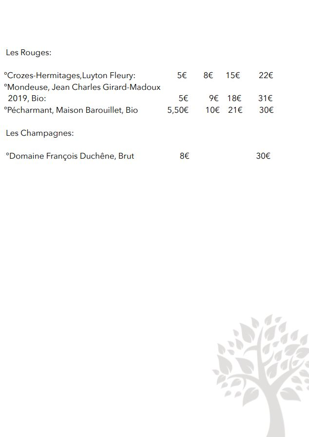 Carte de vins